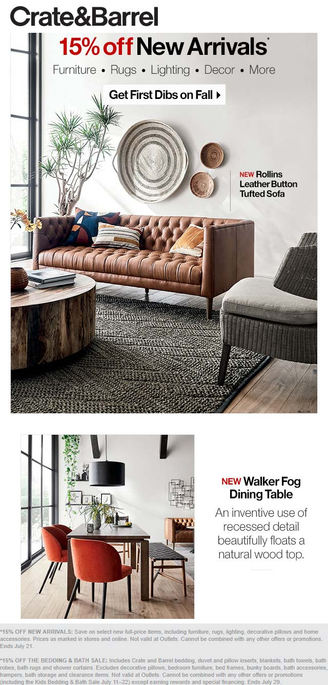 Crate & Barrel Coupon July 2020 15% off new arrivals at Crate & Barrel, ditto online