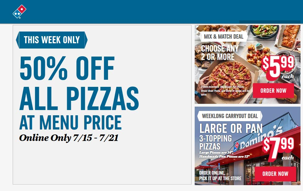 Dominos.com Promo Coupon 50% off pizza online at Dominos