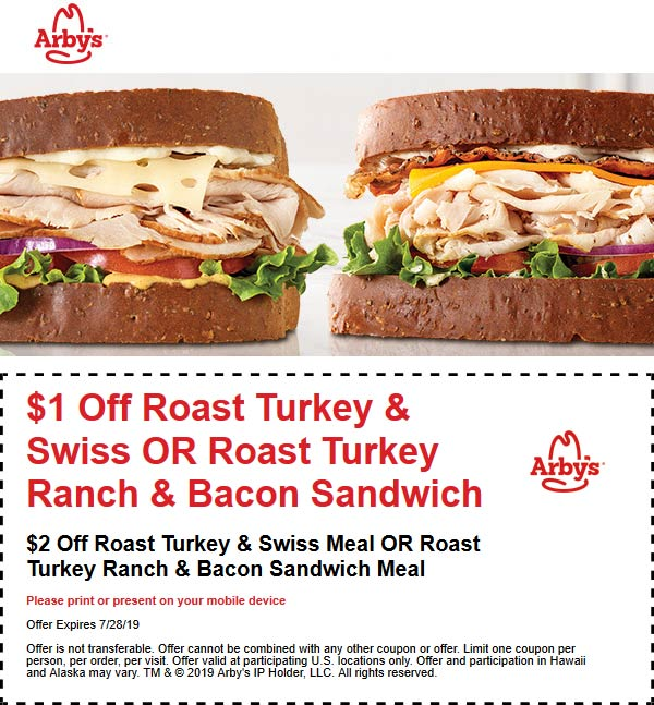Arbys Coupon October 2019 $1-$2 off your turkey sandwich at Arbys