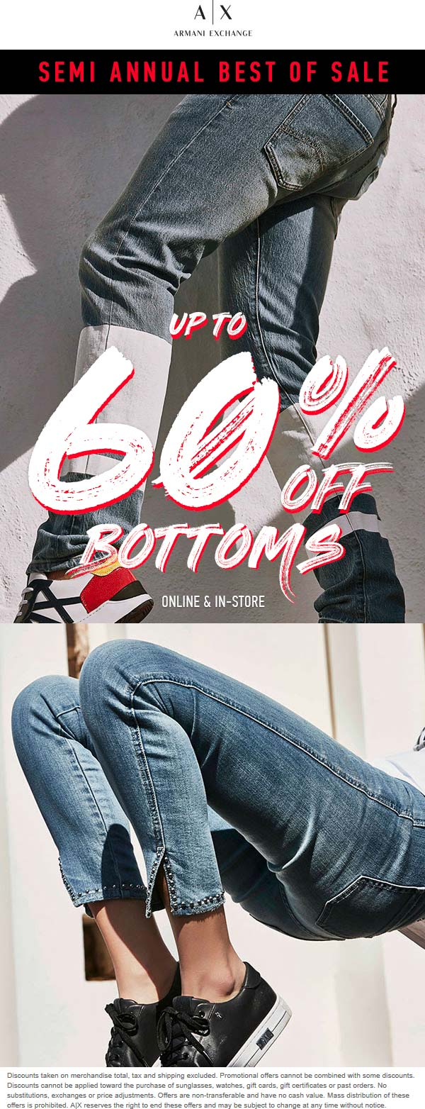 Armani Exchange Coupon November 2019 60% off bottoms sale going on at Armani Exchange, ditto online