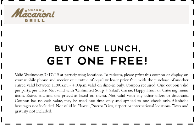 Macaroni Grill Coupon January 2020 Second lunch free today at Macaroni Grill