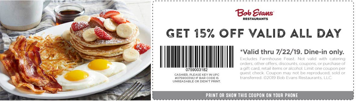 Bob Evans Coupon August 2019 15% off at Bob Evans restaurants