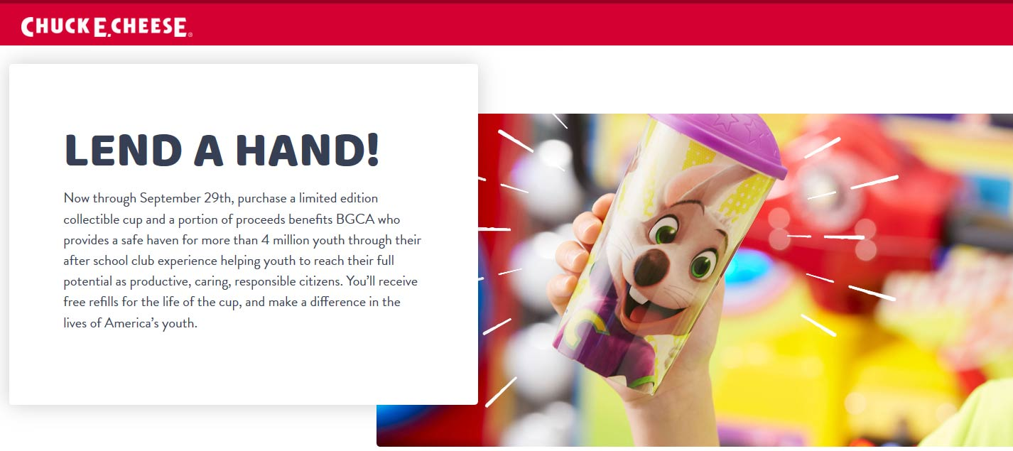 ChuckE.Cheese.com Promo Coupon Free refills forever on charity cup at Chuck E. Cheese pizza