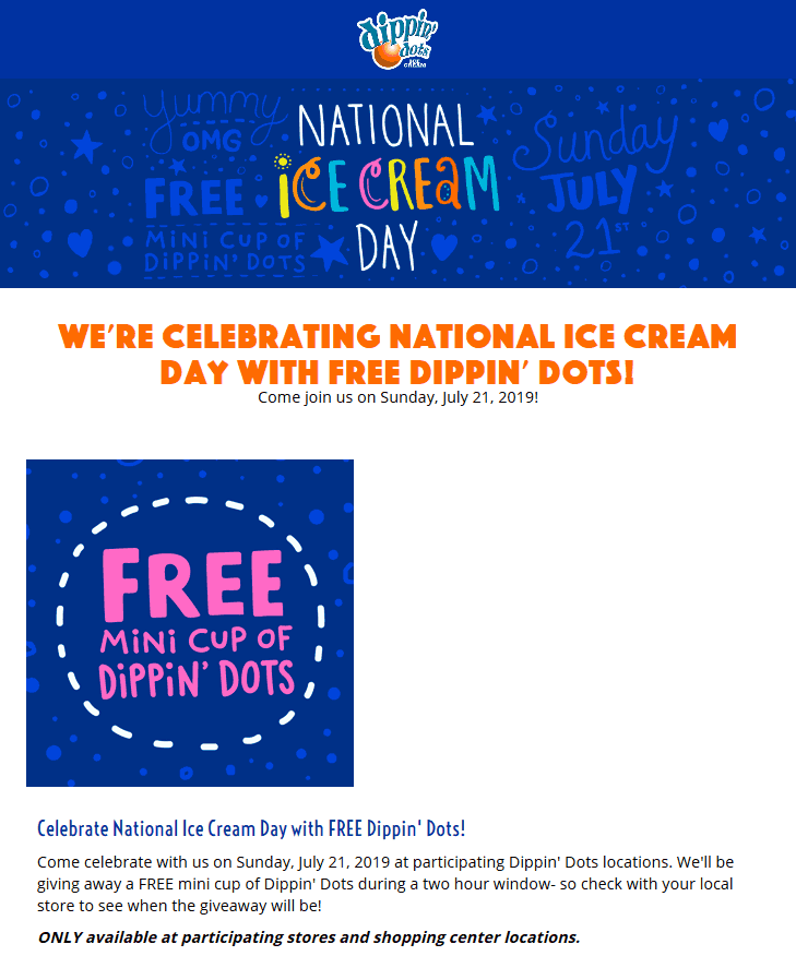 Dippin Dots Coupon January 2020 Free Dippin Dots ice cream Sunday