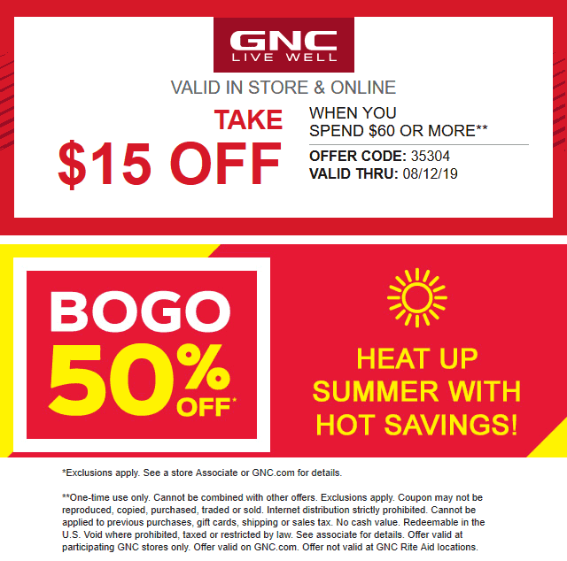 GNC Coupon August 2019 $15 off $60 at GNC, or online via promo code 35304
