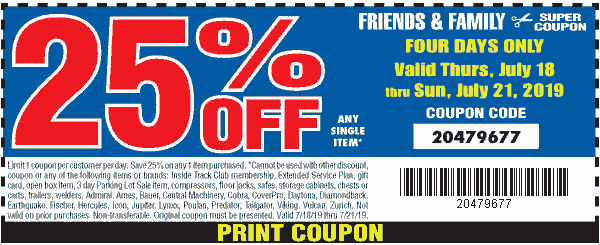 HarborFreight.com Promo Coupon 25% off a single item at Harbor Freight Tools, or online via promo code 20479677