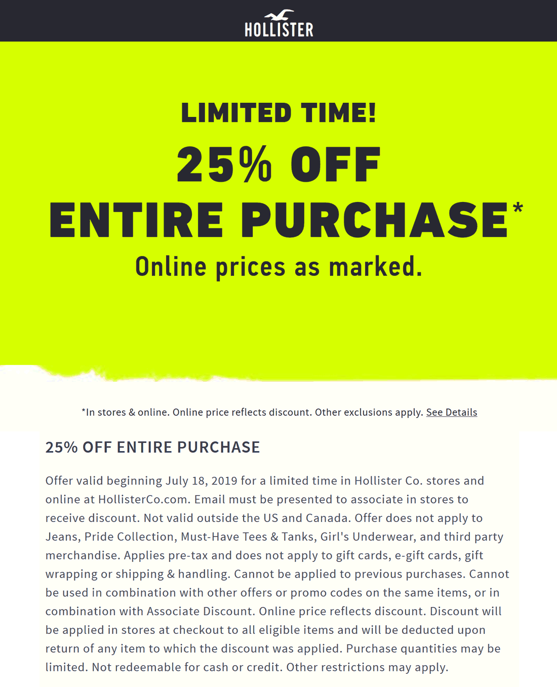Hollister Coupon February 2020 25% off at Hollister, ditto online