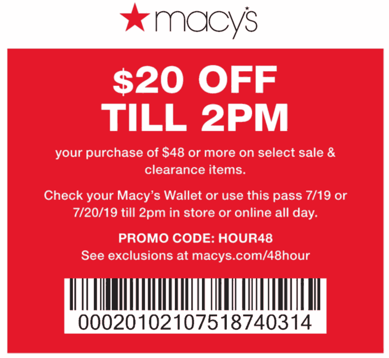 Macys Coupon November 2019 $20 off $48 til 2pm at Macys, or online via promo code HOUR48