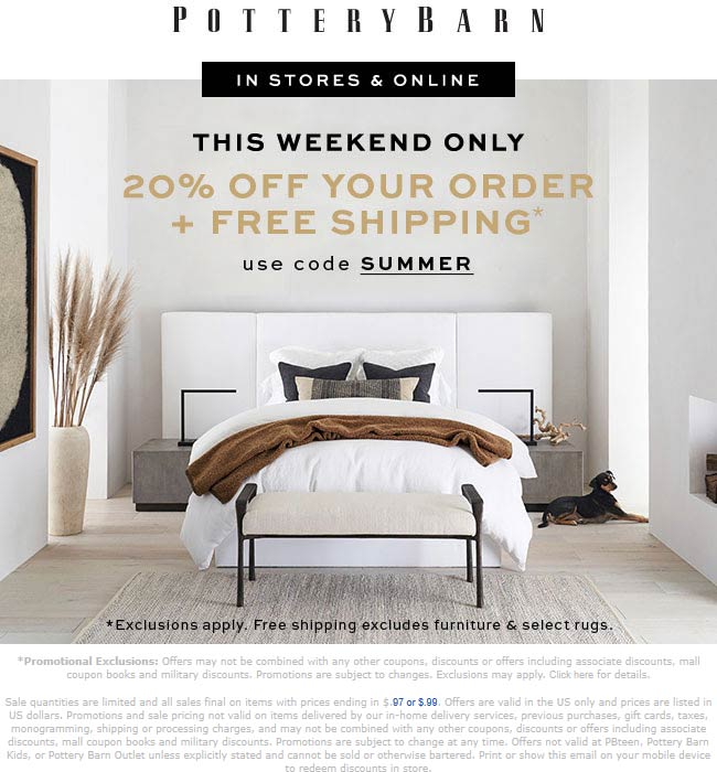 Pottery Barn Coupon July 2020 20% off at Pottery Barn, or online via promo code SUMMER