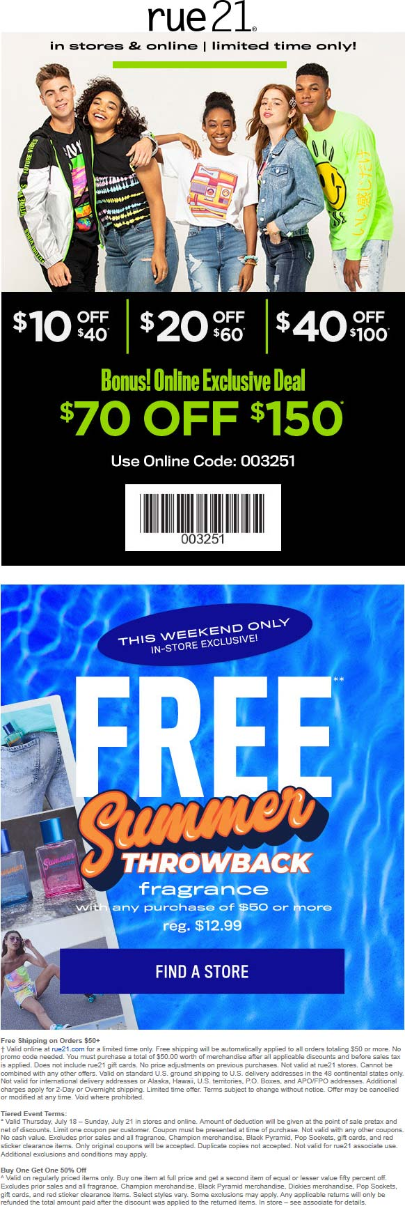 Rue21.com Promo Coupon $10 off $40 & more at rue21, or online via promo code 003251