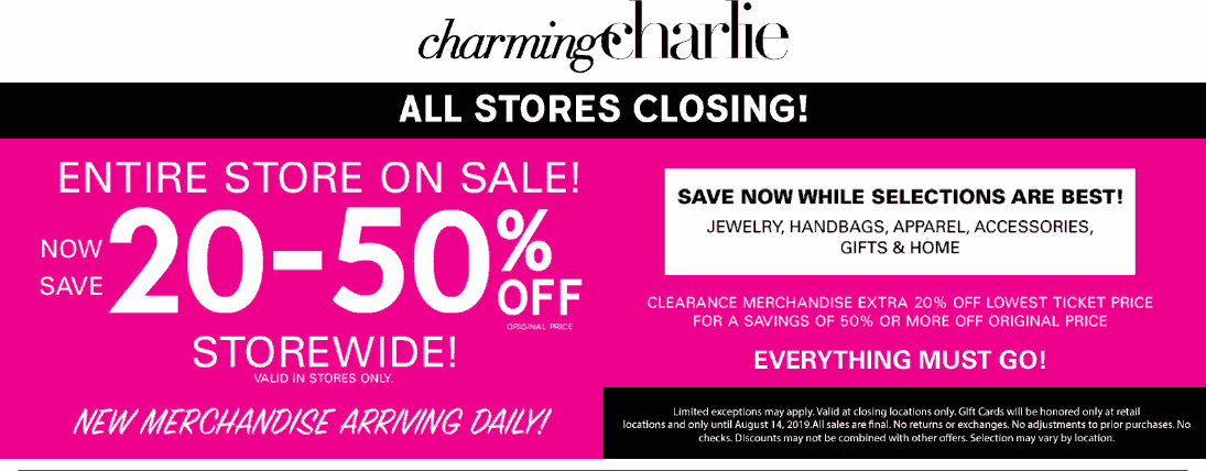Charming Charlie Coupon November 2019 Going out-of-business 20-50% off everything at Charming Charlie