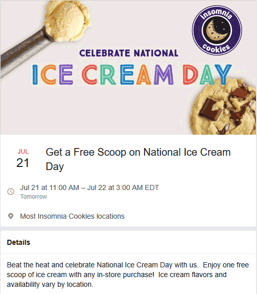 Insomnia Cookies Coupon February 2020 Free ice cream with any order Sunday at Insomnia Cookies
