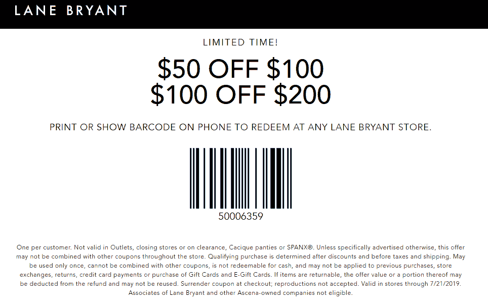 Lane Bryant Coupon August 2019 $50 off $100 & more at Lane Bryant