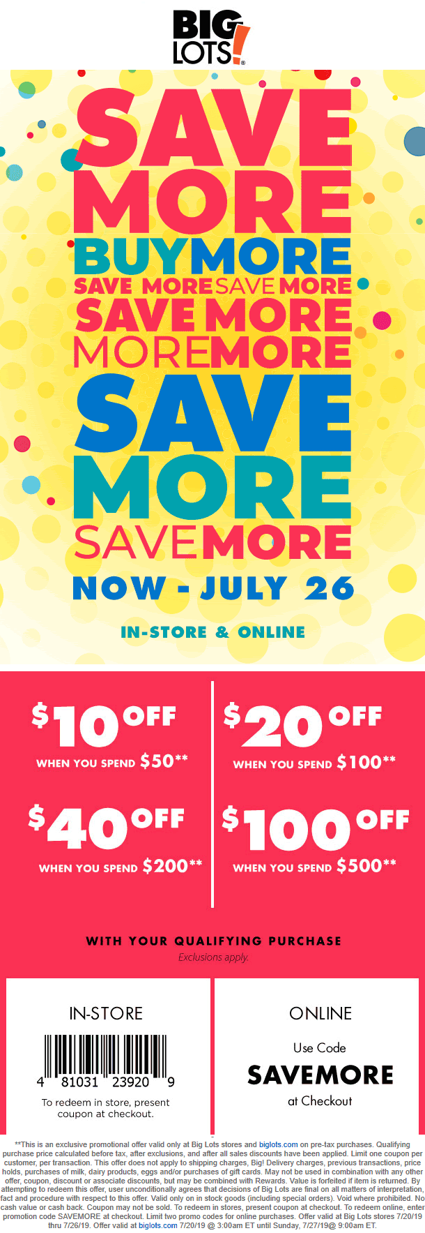 Big Lots Coupon December 2019 $10 off $50 & more at Big Lots, or online via promo code SAVEMORE