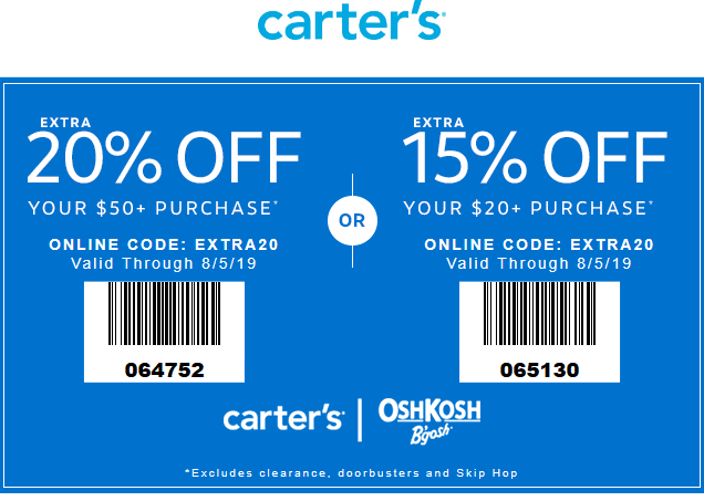 Carters.com Promo Coupon 15-20% off at Carters, or online via promo code EXTRA20