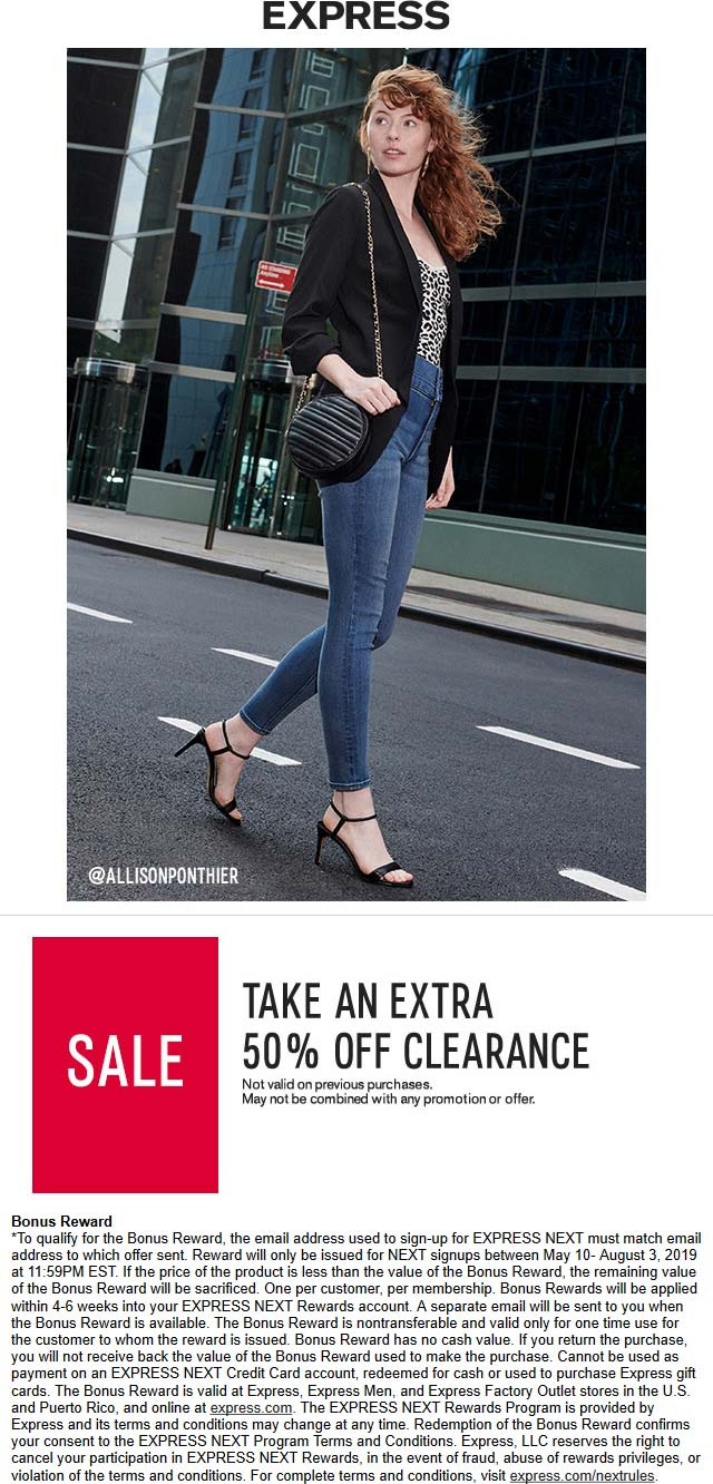 Express Coupon August 2019 Extra 50% off clearance at Express, ditto online