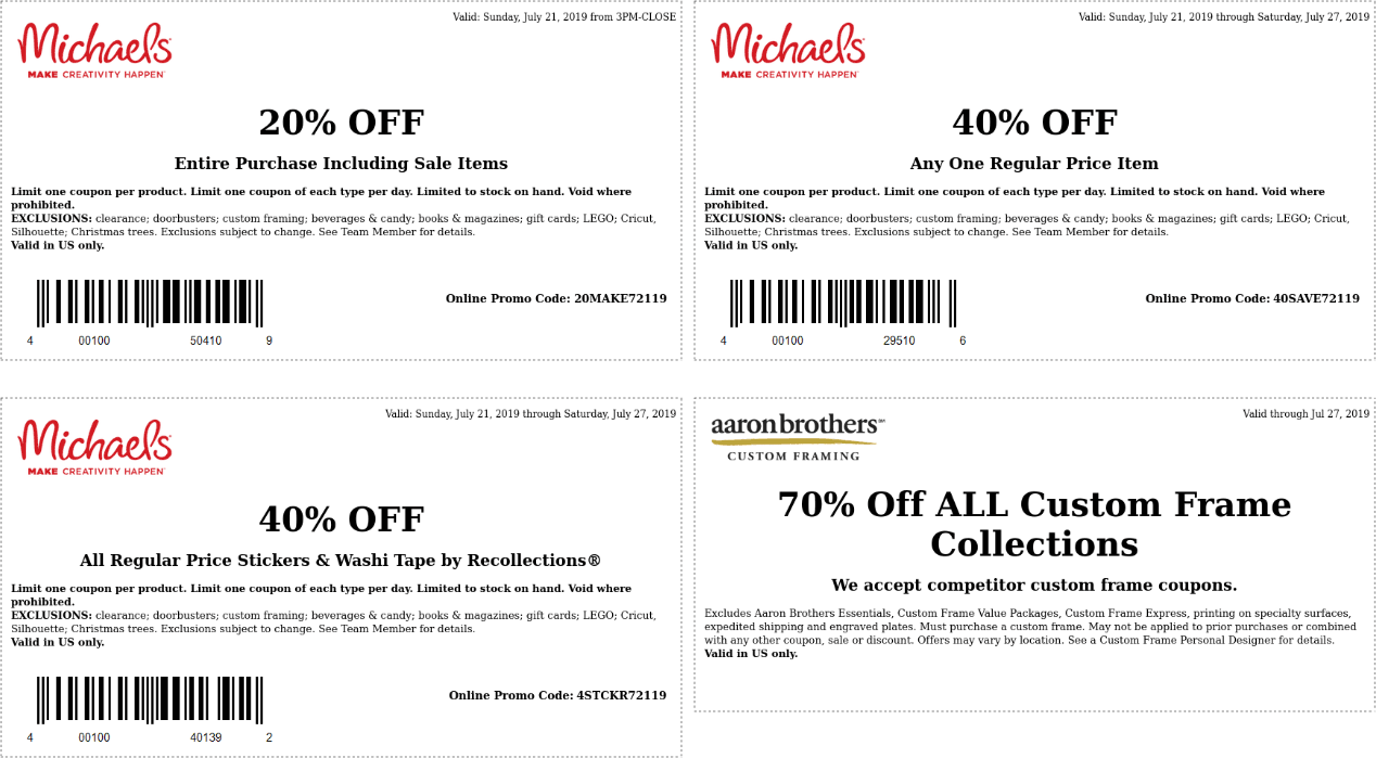 Michaels.com Promo Coupon 40% off a single item at Michaels, or online via promo code 40SAVE72119