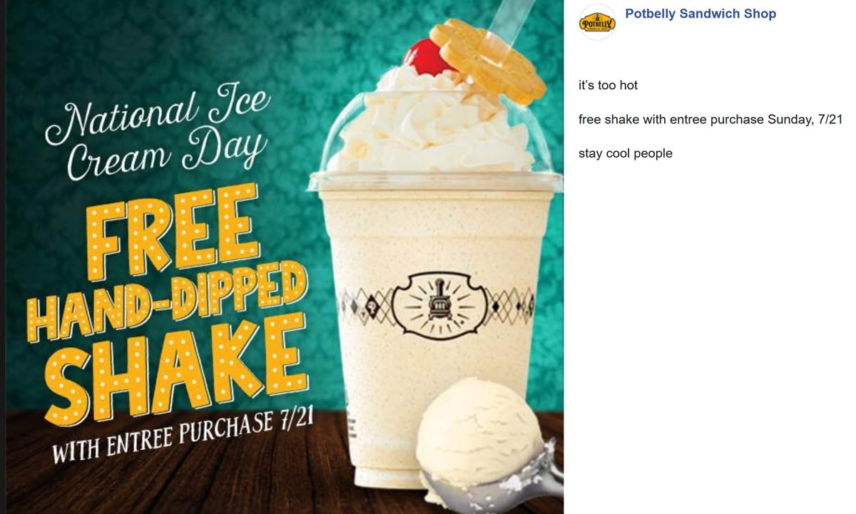 Potbelly Coupon January 2020 Free shake with your entree today at Potbelly sandwich shops