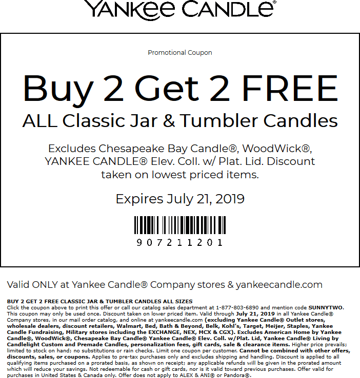 Yankee Candle Coupon September 2019 4-for-2 today at Yankee Candle, or online via promo code SUNNY