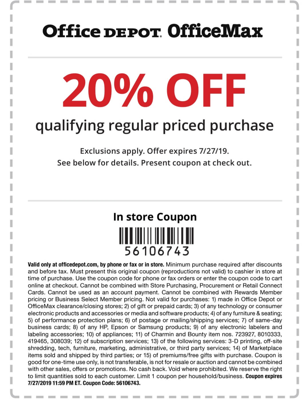 Office Depot Coupon October 2019 20% off at Office Depot & OfficeMax, or online via promo code 56106743