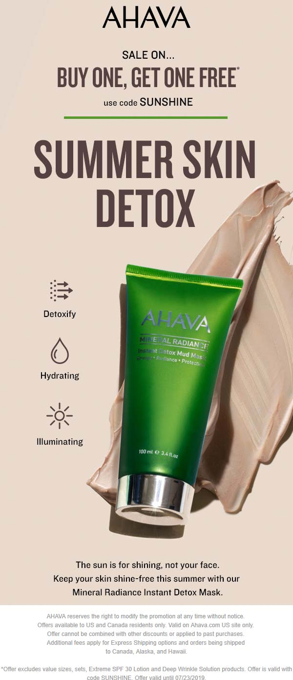AHAVA Coupon September 2019 Second item free at AHAVA, or online via promo code SUNSHINE
