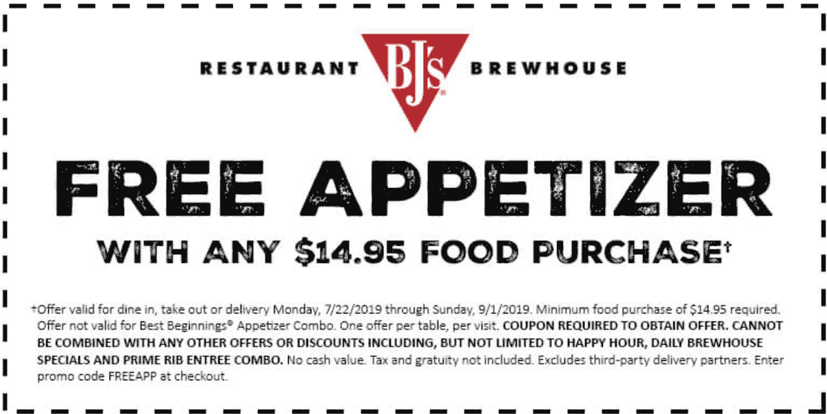 BJs Restaurant coupons & promo code for [October 2020]