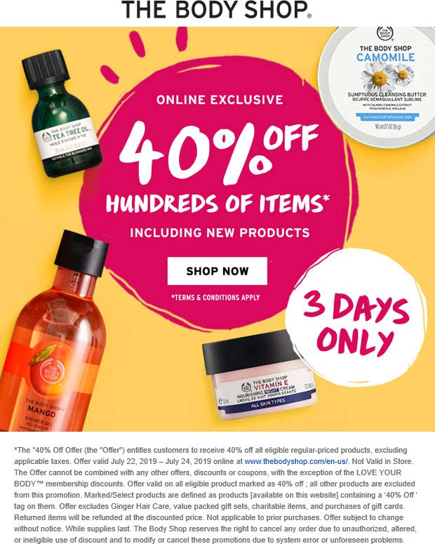 TheBodyShop.com Promo Coupon 40% off online at The Body Shop, no code needed
