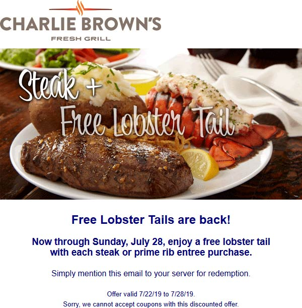 Charlie Browns Coupon November 2019 Free lobster with your steak at Charlie Browns restaurants