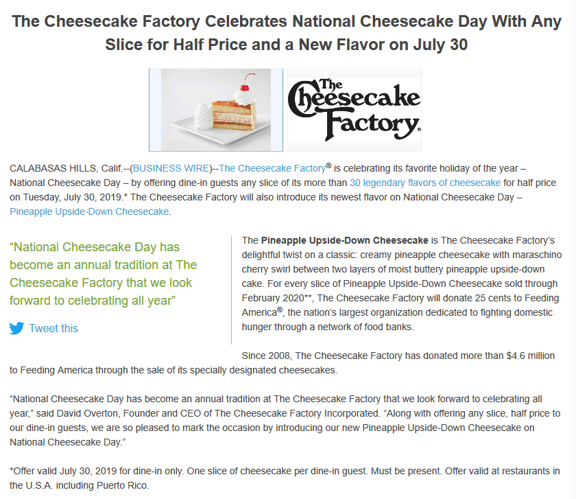 Cheesecake Factory coupons & promo code for [July 2020]