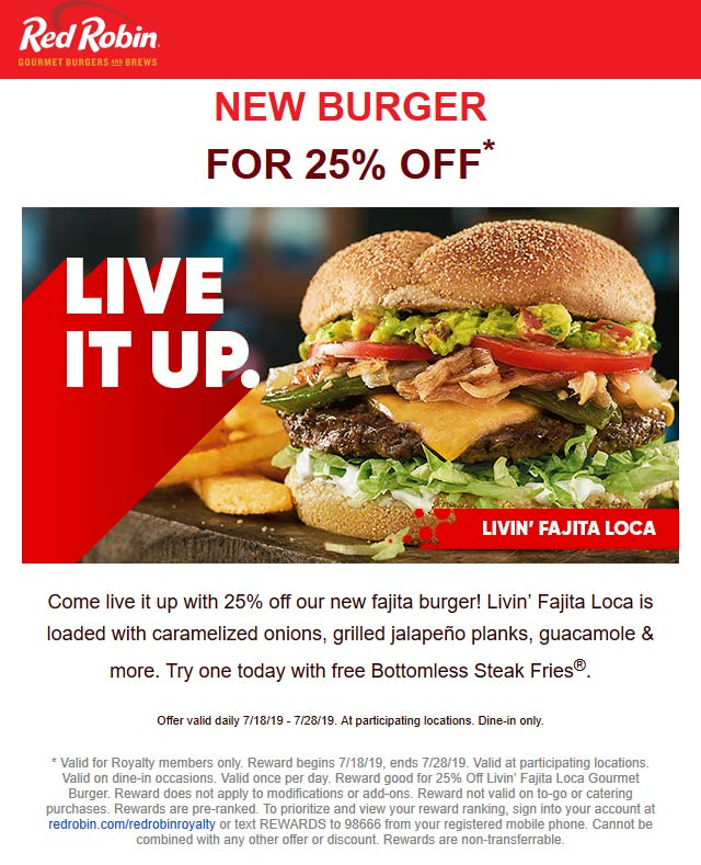 Red Robin Coupon February 2020 25% off a fajita burger at Red Robin restaurants