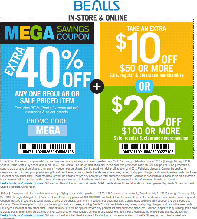 Bealls Coupon November 2019 Extra 40% off a single item & more at Bealls, or online via promo code MEGA