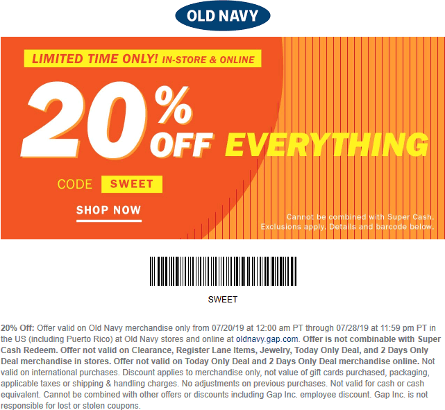 Old Navy Coupon September 2019 20% off everything at Old Navy, or online via promo code SWEET