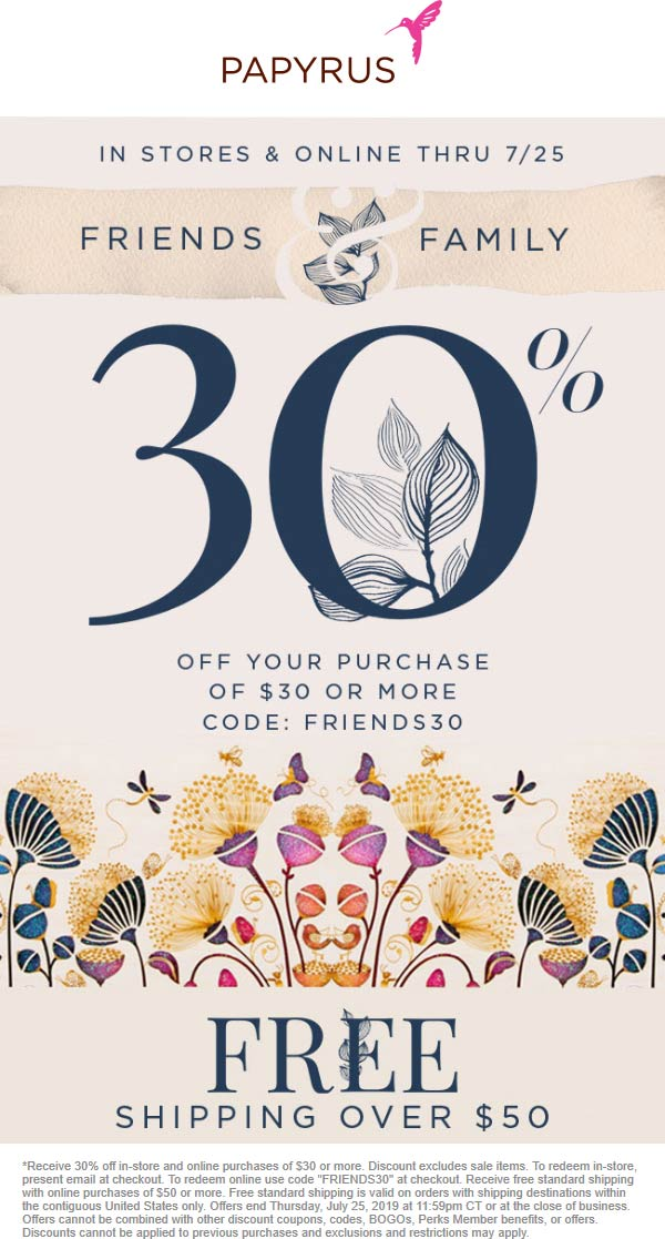 Papyrus Coupon December 2019 30% off $30 at Papyrus, or online via promo code FRIENDS30