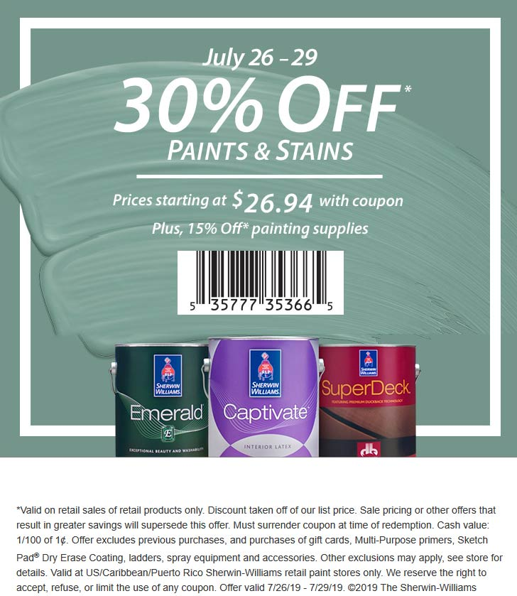 Sherwin Williams Coupon August 2019 30% off paints & stains at Sherwin Williams