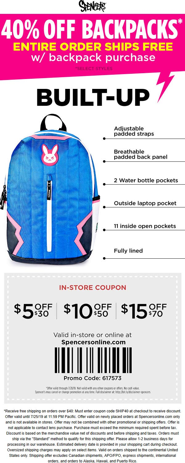 Spencers Coupon November 2019 40% off backpacks + $5 off $30 & more at Spencers, or online via promo code 617573