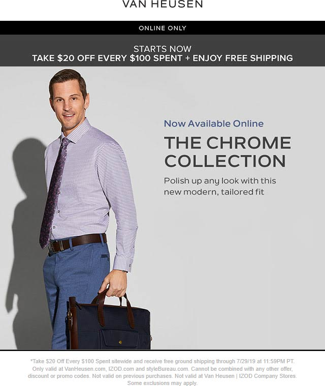 IZOD Coupon November 2019 $20 off every $100 online at Van Heusen & IZOD