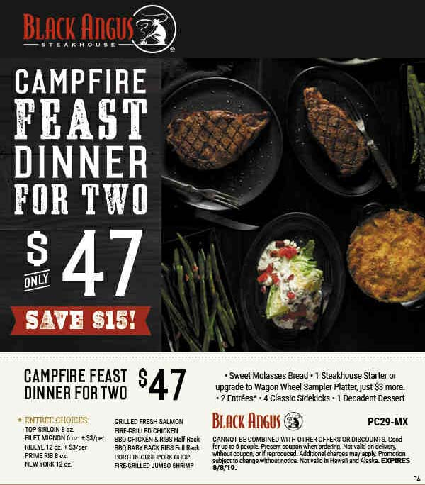 Black Angus Coupon November 2019 2 steak entrees + appetizer + 4 sides + dessert = $47 at Black Angus steakhouse