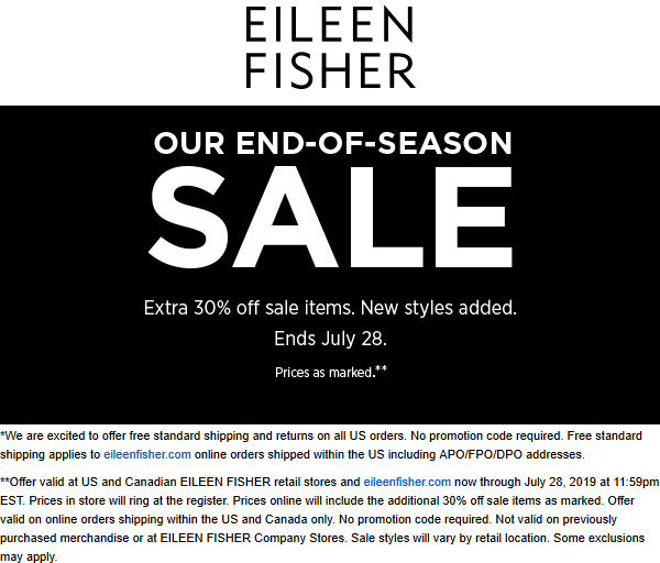 Eileen Fisher Coupon November 2019 Extra 30% off sale items at Eileen Fisher, ditto online