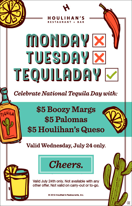 Houlihans Coupon October 2019 $5 margaritas, Palomas & queso today at Houlihans restaurants