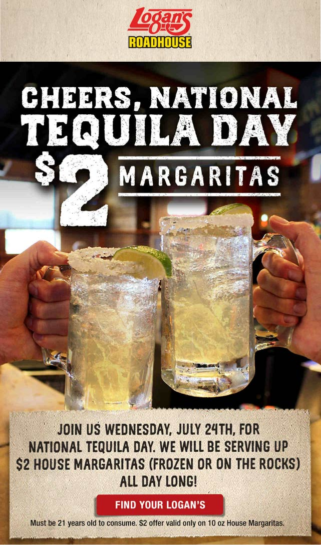 Logans Roadhouse Coupon August 2019 $2 margaritas today at Logans Roadhouse restaurants