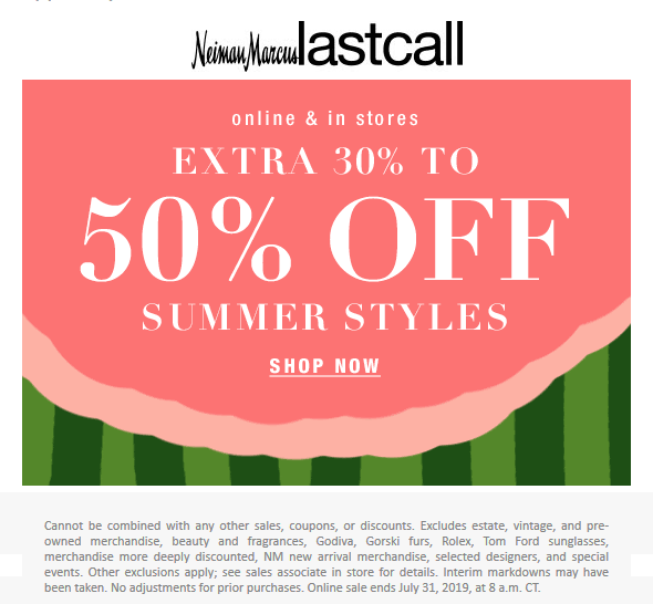 Last Call Coupon February 2020 Extra 30-50% off summer at Neiman Marcus Last Call, ditto online