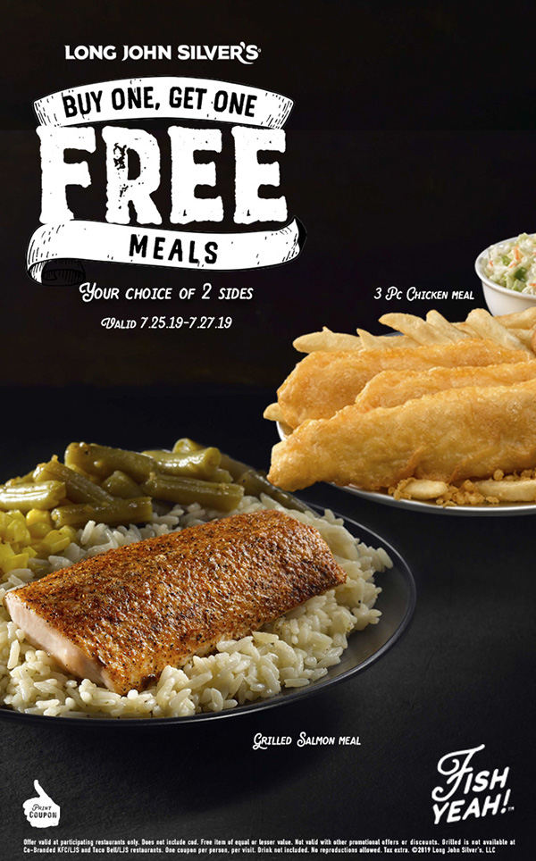 Long John Silvers Coupon September 2019 Second meal free at Long John Silvers