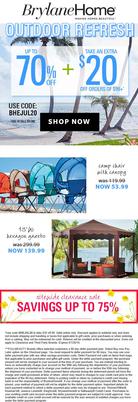 Brylane Home Coupon August 2019 Extra $20 off $99 at Brylane Home catalog via promo code BHEJUL20