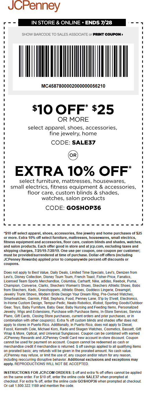 JCPenney Coupon February 2020 $10 off $25 at JCPenney, or online via promo code SALE37