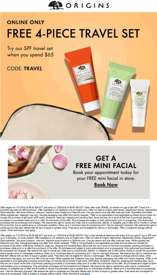 Origins Coupon February 2020 Free 4pc travel set with $65 spent online at Origins via promo code TRAVEL