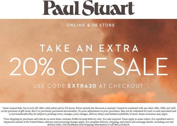 Paul Stuart coupons & promo code for [July 2020]