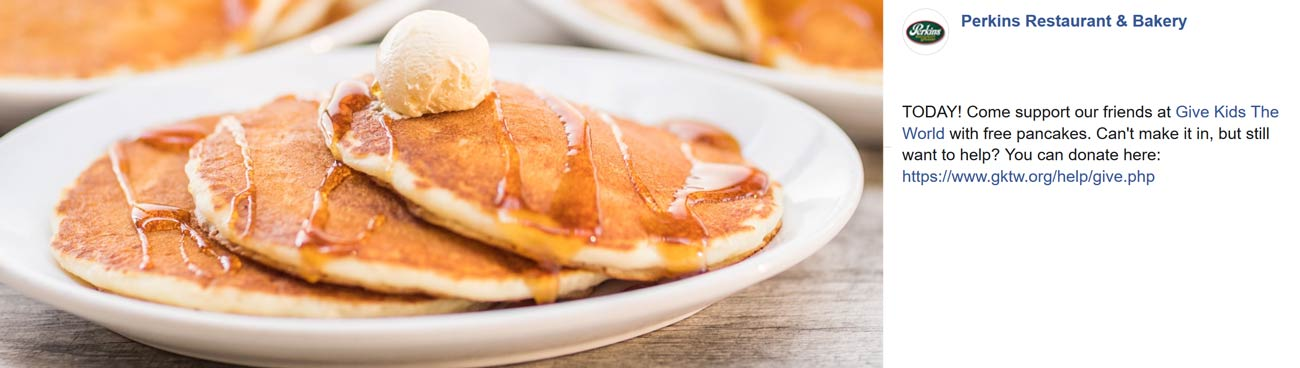 Perkins Coupon September 2019 Free pancakes with donation today at Perkins restaurants