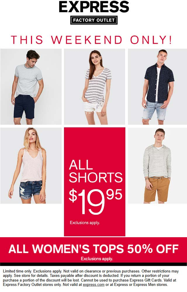 Express Factory Outlet Coupon September 2019 50% off tops at Express Factory Outlet