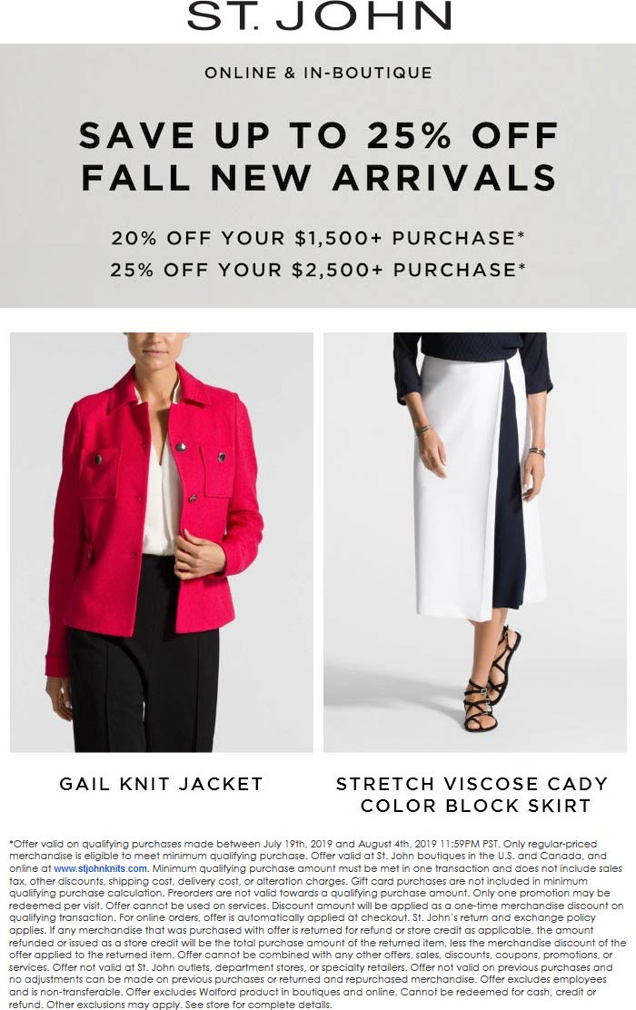 St. John Coupon September 2019 20-25% off at St. John, ditto online