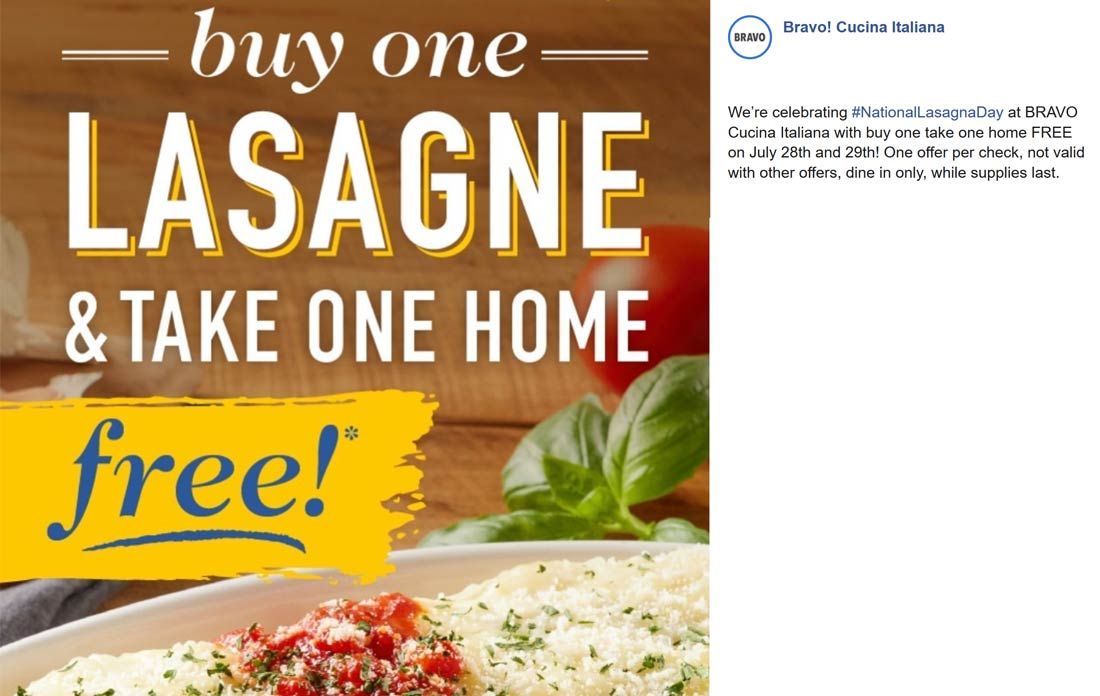 BRAVO Coupon October 2019 Second lasagna free at BRAVO Cucina Italiana restaurants